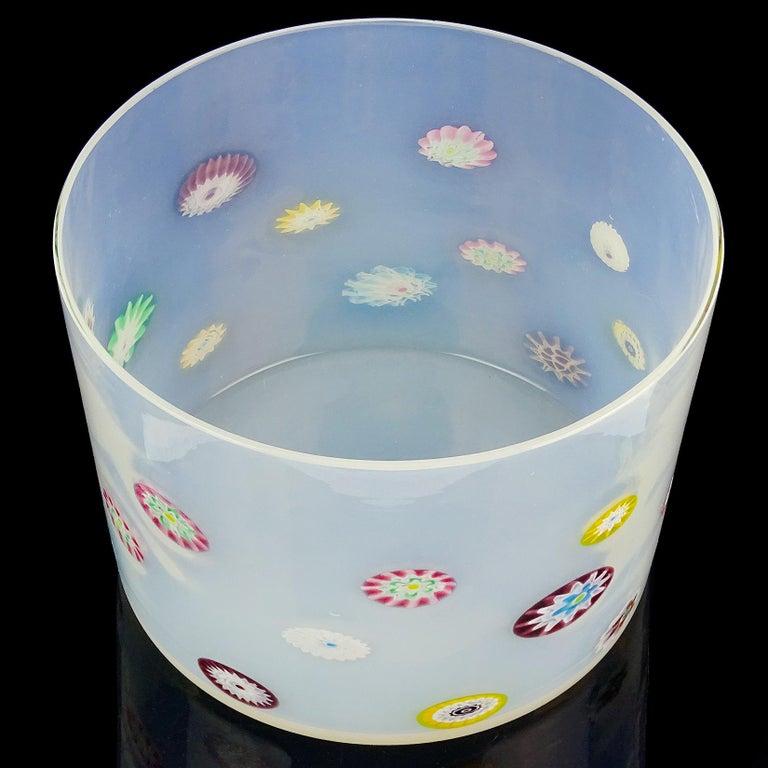 Mid-Century Modern Fratelli Toso Murano White Opalescent Flower Murrine Italian Art Glass Jar For Sale