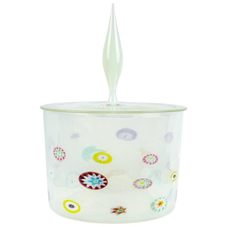 Fratelli Toso Murano White Opalescent Flower Murrine Italian Art Glass Jar For Sale