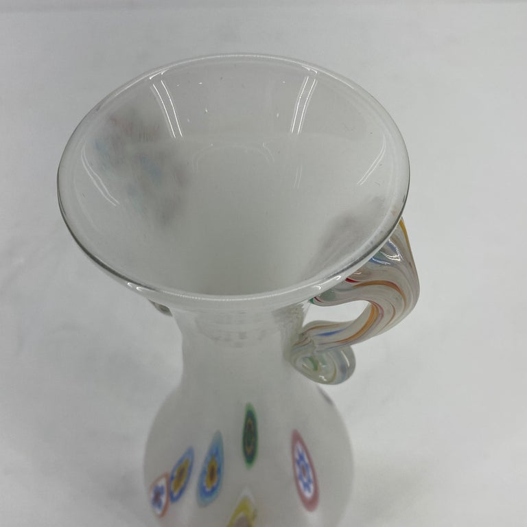 Fratelli Toso Murano White Opalescent Italian Art Glass Vase For Sale 11