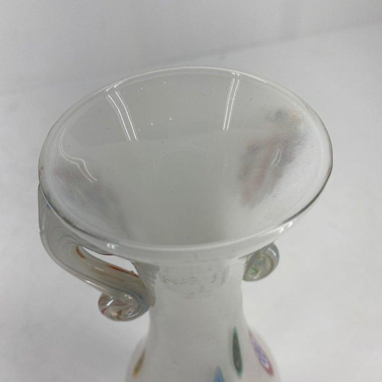 Fratelli Toso Murano White Opalescent Italian Art Glass Vase For Sale 1