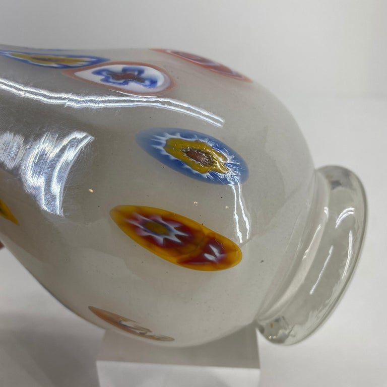 Fratelli Toso Murano White Opalescent Italian Art Glass Vase For Sale 2