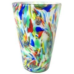 Fratelli Toso Murano White Rainbow Color Swirls Italian Art Glass Flower Vase