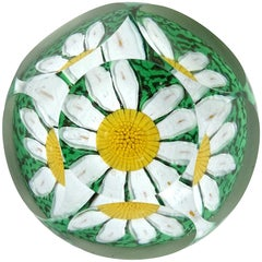 Fratelli Toso Murano Window Daisy Flower Mosaic Italian Art Glass Paperweight