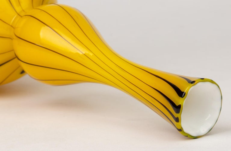 Italian Fratelli Toso Murano Yellow Art Glass Mallet Shaped Vase For Sale