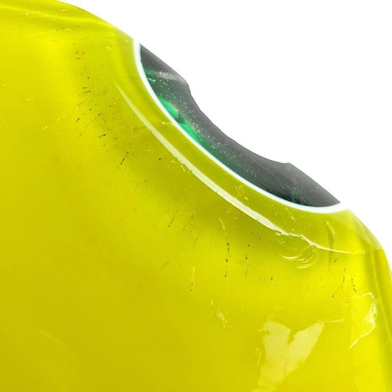 Fratelli Toso Murano Yellow Green Italian Art Glass Melon Cut Decorative Bowl For Sale 1