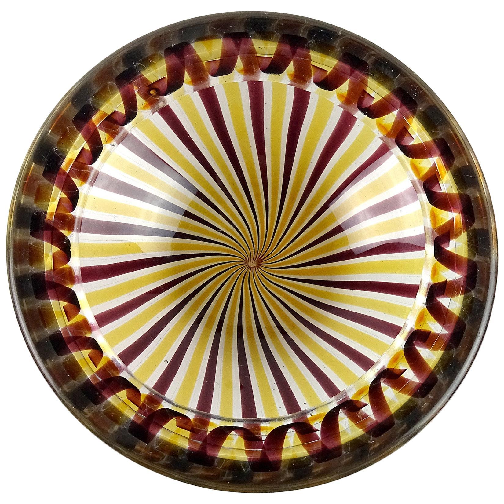 Fratelli Toso Murano Yellow Wine Purple Ribbons Italian Art Glass Bowl
