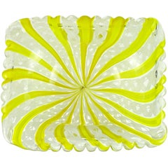 Fratelli Toso Murano Yellow Zanfirico Ribbons Gold Flecks Italian Art Glass Bowl