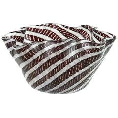 Fratelli Toso Murano Zanfirico White Black Ribbons Italian Art Glass Vase