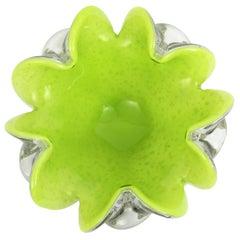 Fratelli Toso Pistacchio Green & White Silver Flecks Murano Glass Flower Bowl