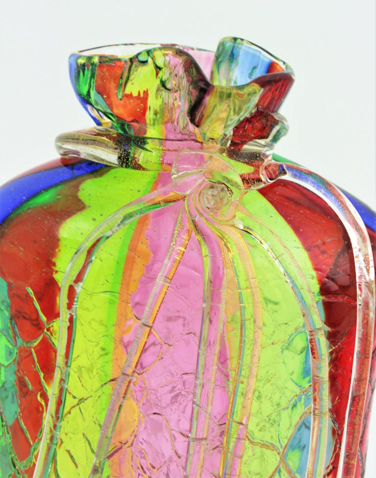 Fratelli Toso Murano Rainbow Ribbons Glass Vase with Gold Flecks For Sale 8