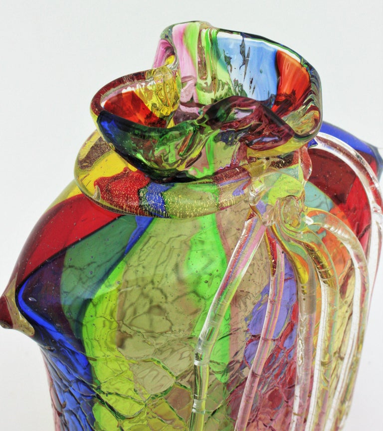 Fratelli Toso Murano Rainbow Ribbons Glass Vase with Gold Flecks For Sale 9