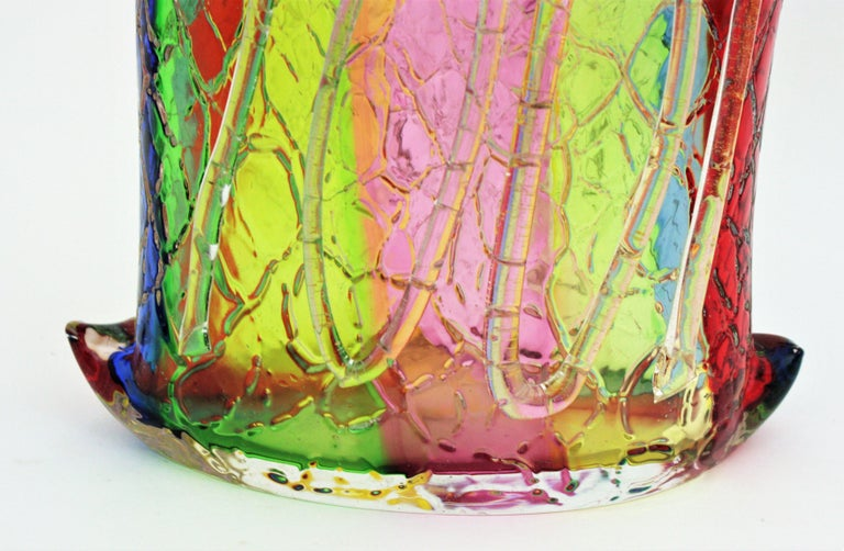 Fratelli Toso Murano Rainbow Ribbons Glass Vase with Gold Flecks For Sale 10