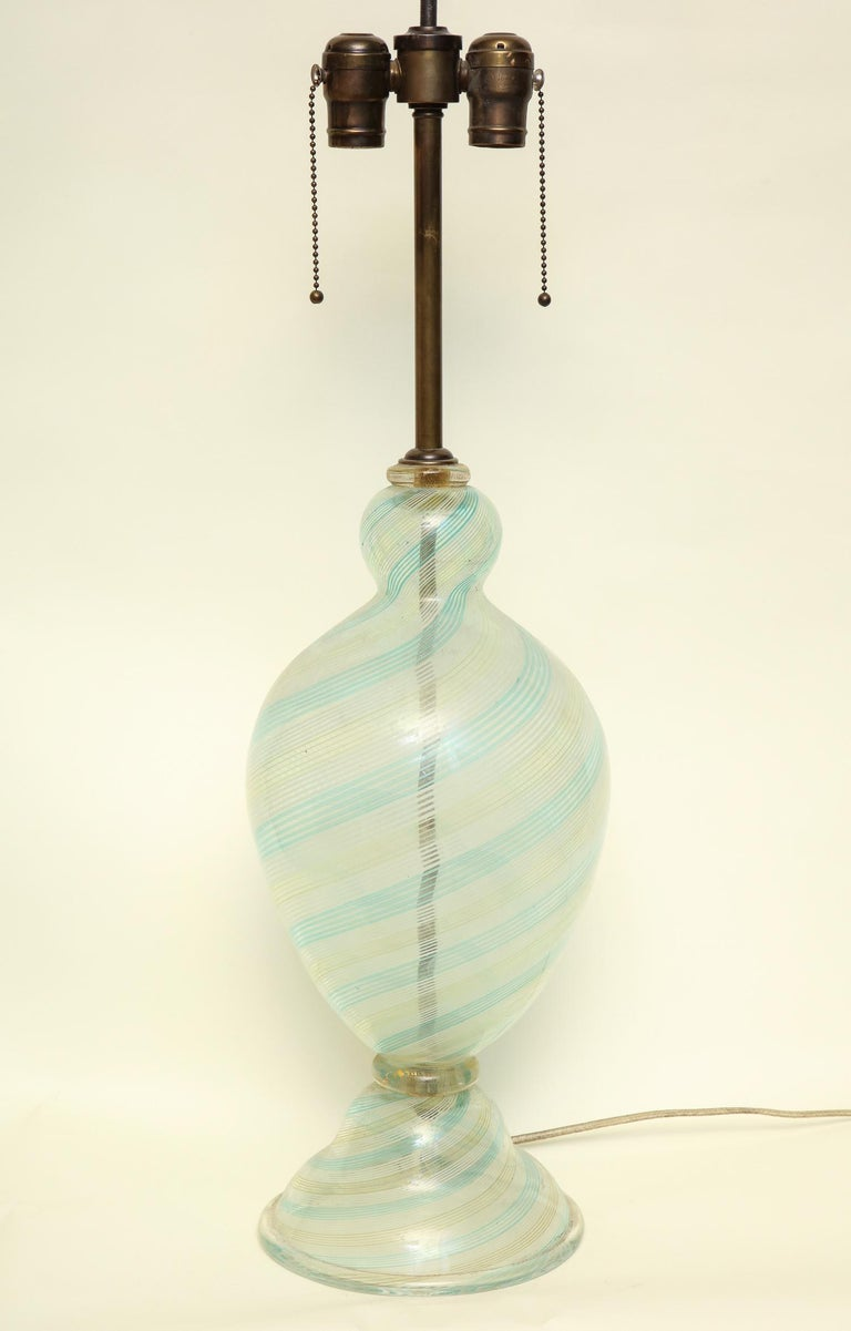 Italian Fratelli Toso Table Lamp Murano Art Glass Mid-Century Modern Italy, 1940s For Sale