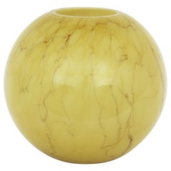 Fratelli Toso Venini Murano Murrina Lattimo Yellow Glass Ball Centerpiece Vase