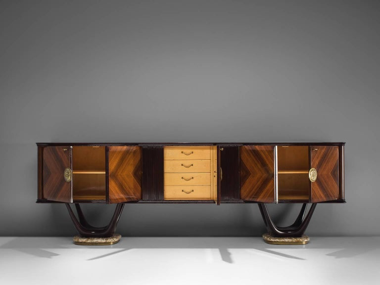 Mid-Century Modern Fratelli Turri Italian Sideboard in Marble and Mahogany For Sale