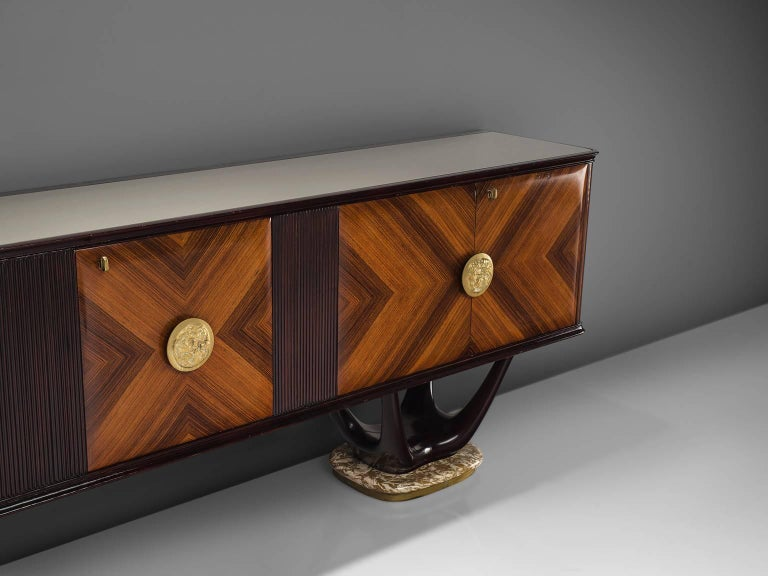 Fratelli Turri Italian Sideboard in Marble and Mahogany In Good Condition For Sale In Waalwijk, NL