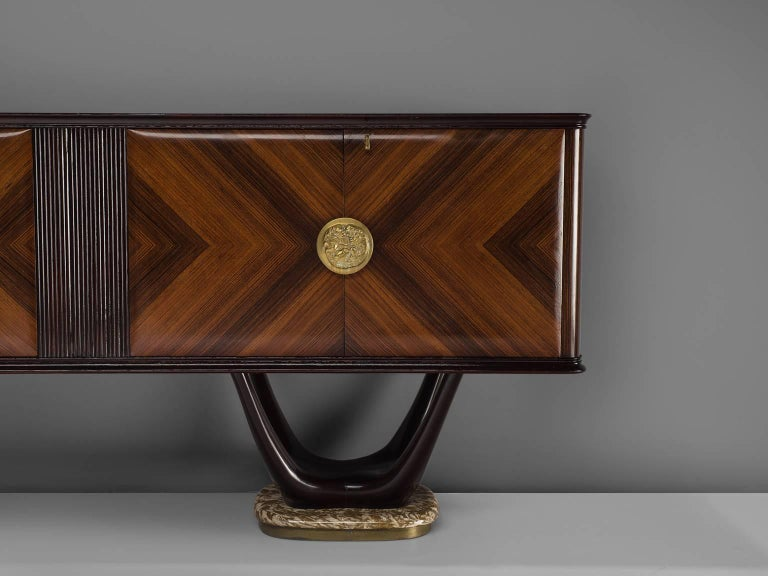 Mid-20th Century Fratelli Turri Italian Sideboard in Marble and Mahogany For Sale