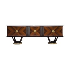 Fratelli Turri Italian Sideboard in Marble and Mahogany