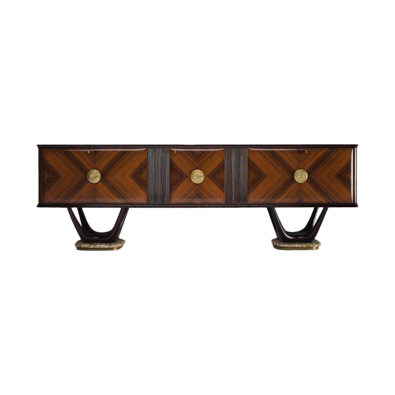 Fratelli Turri Italian Sideboard in Marble and Mahogany For Sale