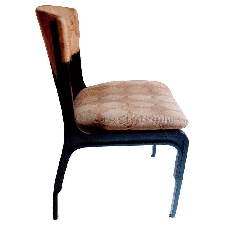 Frattini Mid-Century Modern Mahogany Wood and Original Fabric Chairs, 1960