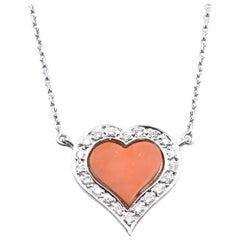 Fred 18 Karat White Gold Coral and Diamond Heart Necklace