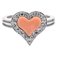 Fred 18 Karat White Gold Coral and Diamond Heart Ring