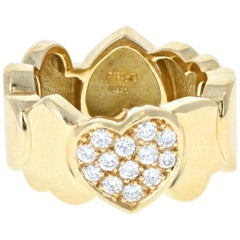 Fred 18 Karat Yellow Gold and Diamond Heart Band Ring 10.4g