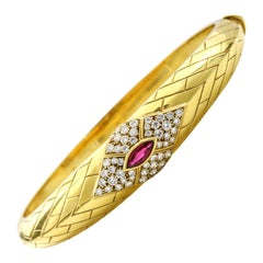 Fred 18 Karat Yellow Gold Ruby Diamond Bangle Bracelet