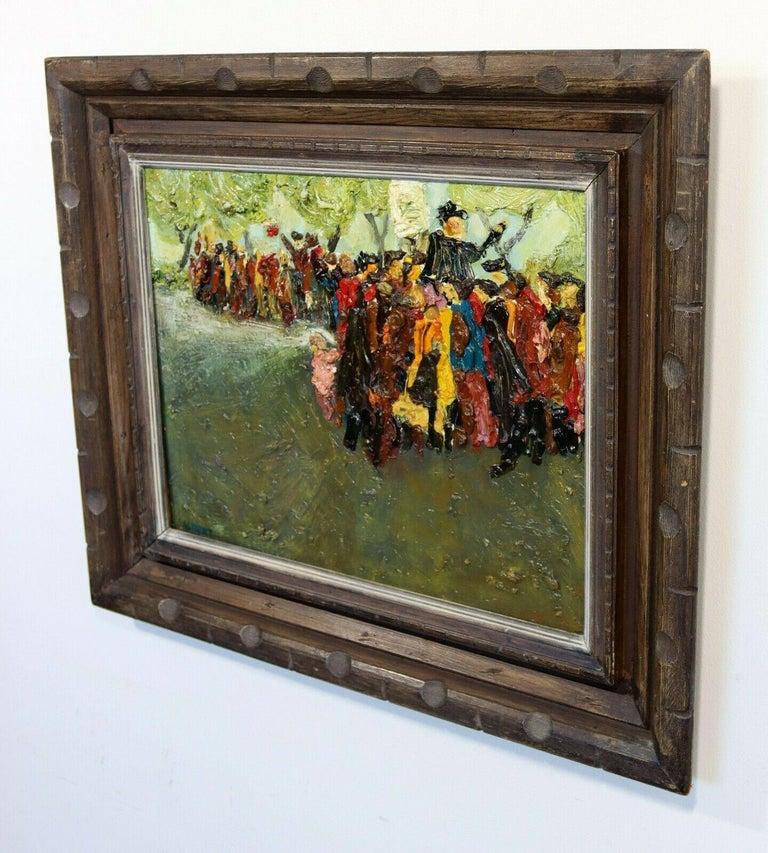 Paint Fred Albert Signed Hyde Park Framed Oil on Board For Sale