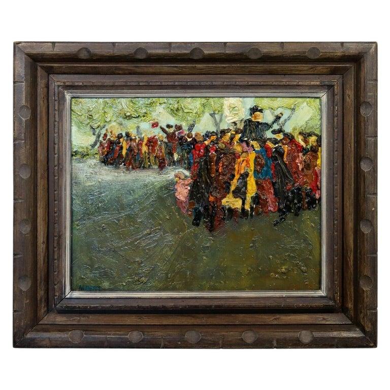 Fred Albert Signed Hyde Park Framed Oil on Board For Sale