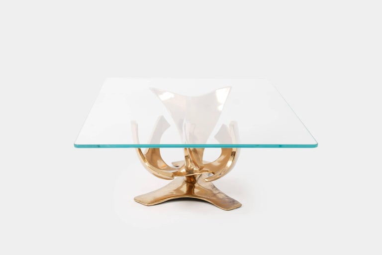 French Fred Brouard Sculptural Bronze Coffee Table For Sale