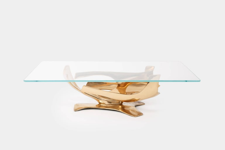 Gilt Fred Brouard Sculptural Bronze Coffee Table For Sale