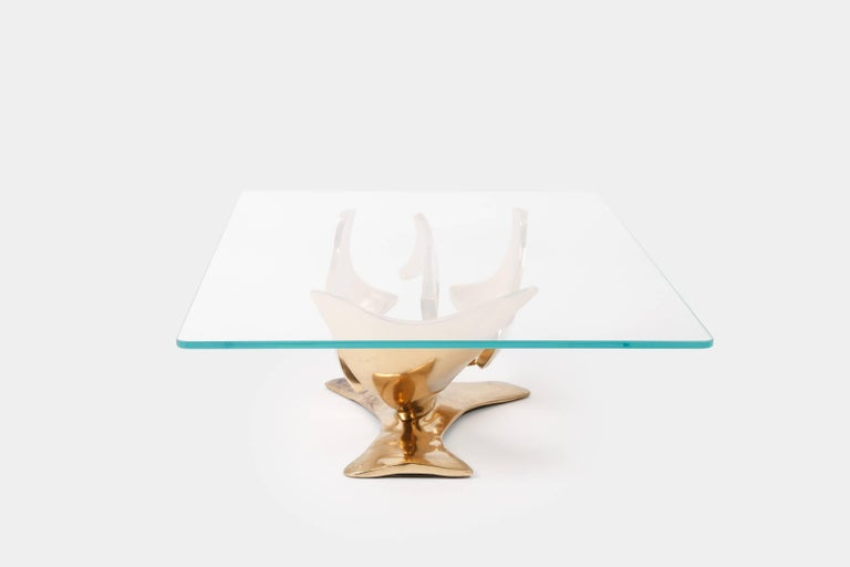 Fred Brouard Sculptural Bronze Coffee Table In Excellent Condition For Sale In Chappaqua, NY