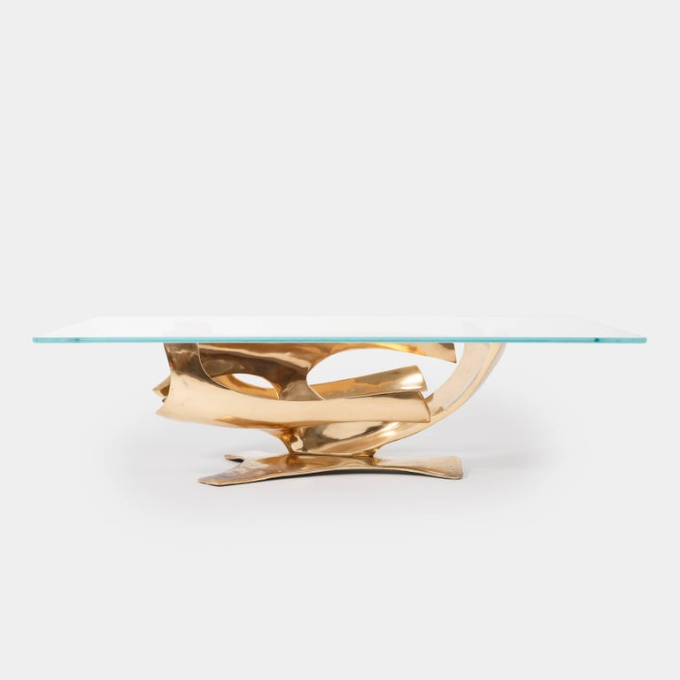 Late 20th Century Fred Brouard Sculptural Bronze Coffee Table For Sale