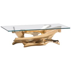 Fred Brouard Superb Sculptural Bronze and Glass Coffee Table, France 1970s