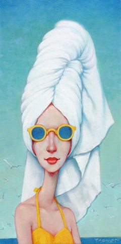 """Bee Hive"" oil painting of woman in yellow suit and sunglasses and towel in hair"