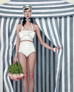 ''Bouquet'' oil painting of woman in white swimsuit with grey striped tent