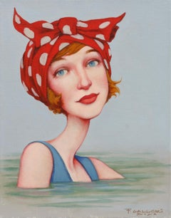 """Dolly Bow"" portrait oil painting of woman with red polka dot scarf on her head"