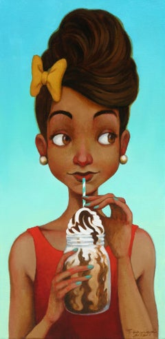 """""""Ice Cream Monday"""" small scale oil painting of a woman drinking a milkshake"""