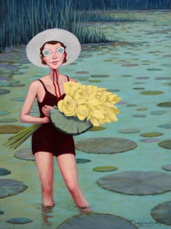 """Lotus Land"" oil painting of a woman standing in lake, yellow flowers, lily pads"