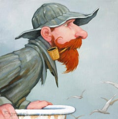 """""""Mermaid Mirage"""" Oil painting of a fisherman with a red beard and pipe"""