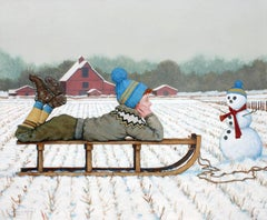 """Mutual Adoration"" Boy with Sled and Snowman White Winter Ground with Red Barn"