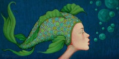 """""""Peacock"""" oil painting of a woman in profile with green fish scale cap, bubbles"""