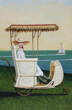 ''Regatta'' oil painting of a woman in a white vintage carriage and ocean behind