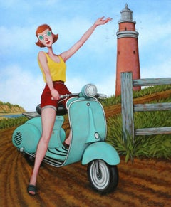 ''Taking Turns'' oil painting of woman on turquoise vespa at Aquinnah lighthouse