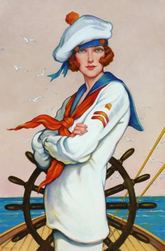 """The Helm"" oil painting of a red head female sailor in on a sailboat"