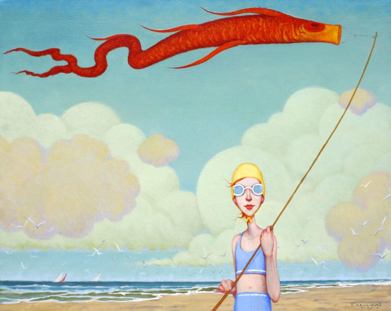 "Fred Calleri Figurative Painting - ""Toy Koi"" oil painting of a girl with a bonnet flying a koi kite on the beach"