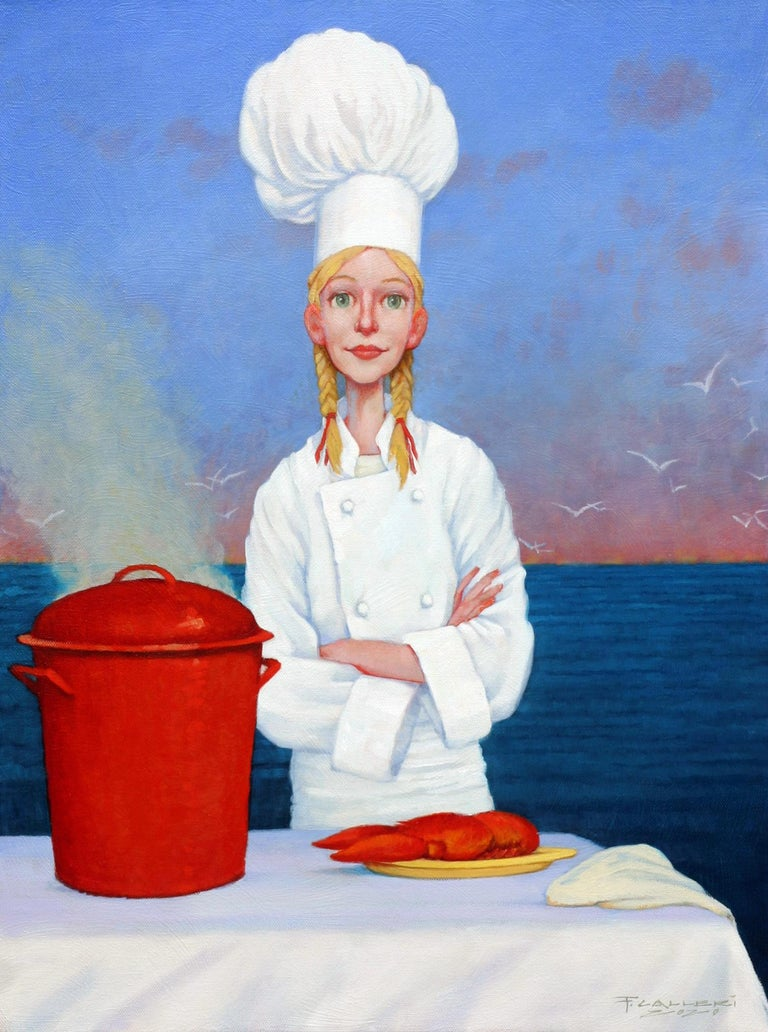 """Fred Calleri Figurative Painting - """"Two Time Champion"""" oil painting of a female chef with lobster and sunset"""