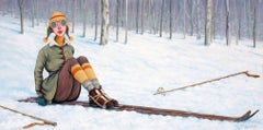 """What Now"" Caricature of Woman with Vintage Skis in White Snow"