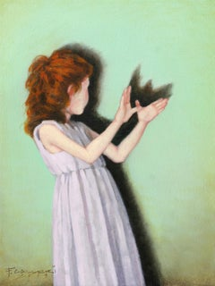 """Wings"" Oil painting of red headed girl with a green background"